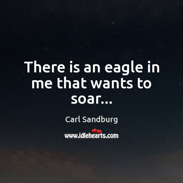There is an eagle in me that wants to soar… Carl Sandburg Picture Quote