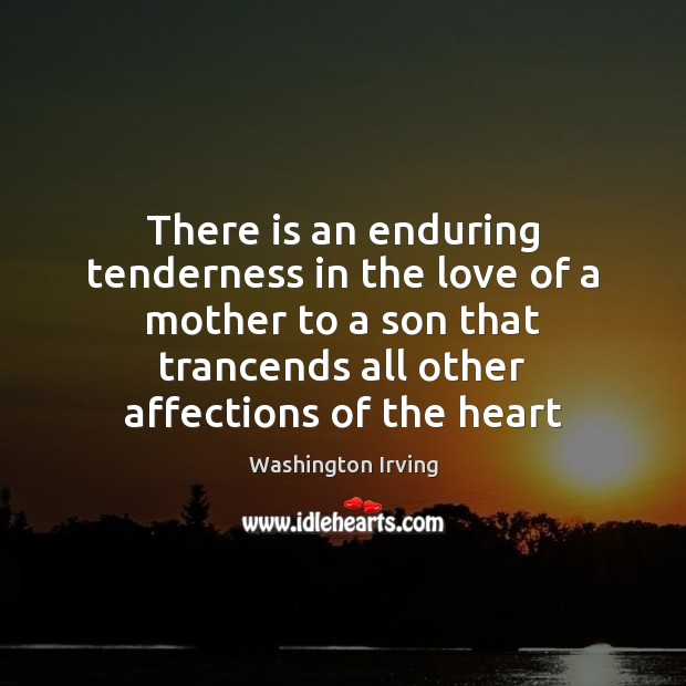 There is an enduring tenderness in the love of a mother to Washington Irving Picture Quote
