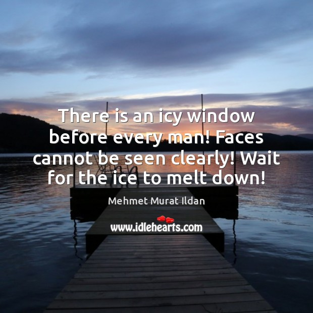 There is an icy window before every man! Faces cannot be seen Image