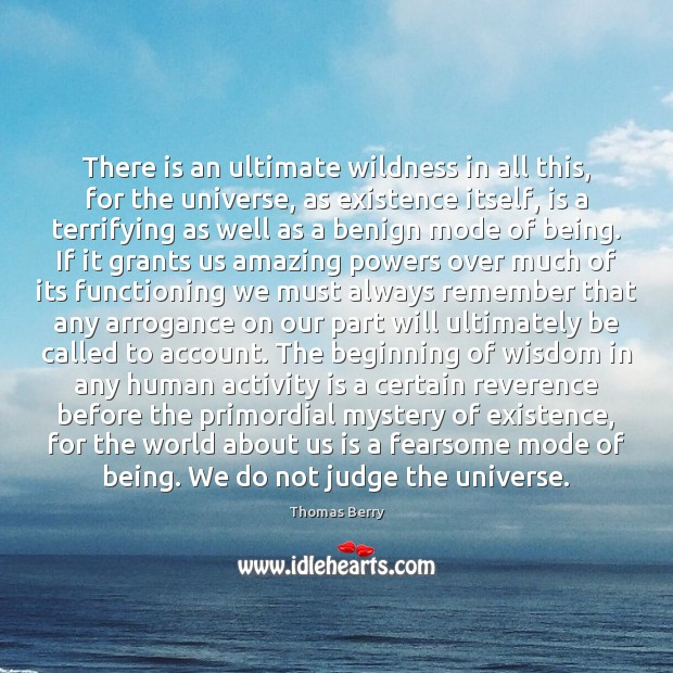 There is an ultimate wildness in all this, for the universe, as Thomas Berry Picture Quote