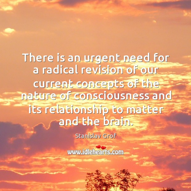 There is an urgent need for a radical revision of our current concepts of the nature Stanislav Grof Picture Quote