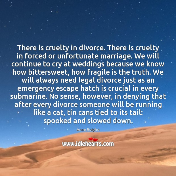 Image, There is cruelty in divorce. There is cruelty in forced or unfortunate