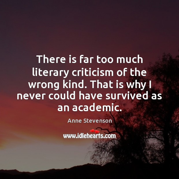 Image, There is far too much literary criticism of the wrong kind. That