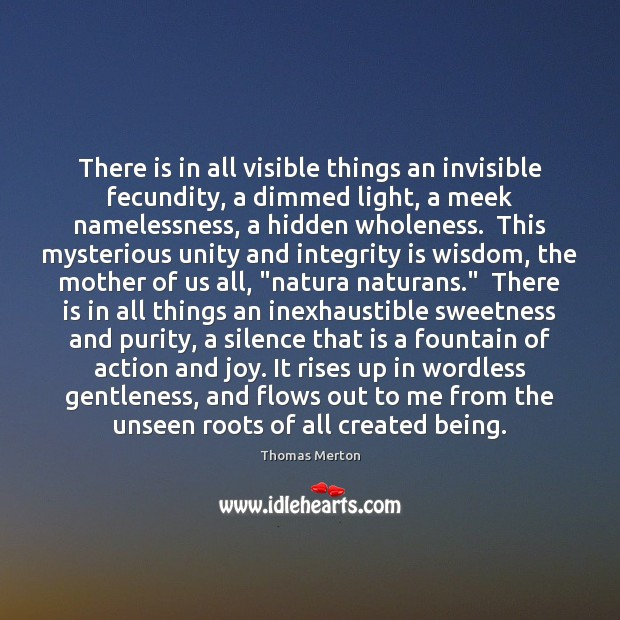 There is in all visible things an invisible fecundity, a dimmed light, Image