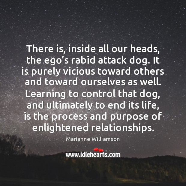 There is, inside all our heads, the ego's rabid attack dog. Marianne Williamson Picture Quote