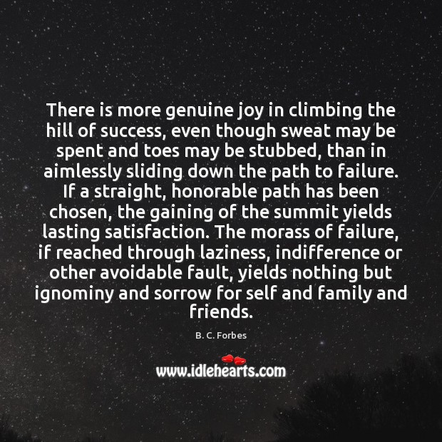 There is more genuine joy in climbing the hill of success, even Image