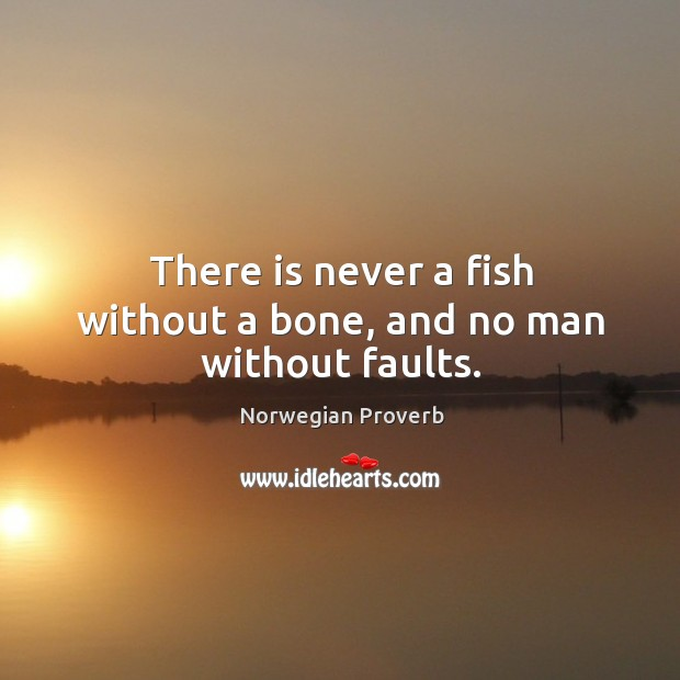 There is never a fish without a bone, and no man without faults. Norwegian Proverbs Image
