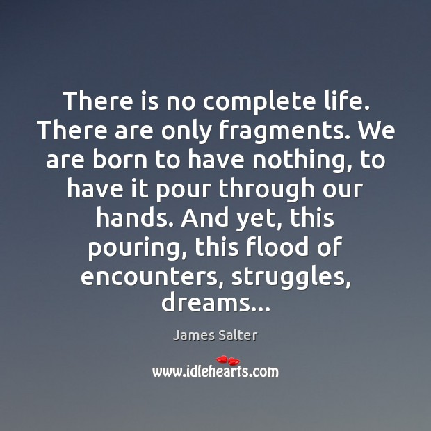 There is no complete life. There are only fragments. We are born James Salter Picture Quote