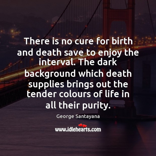 There is no cure for birth and death save to enjoy the Image