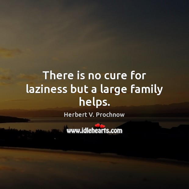 There is no cure for laziness but a large family helps. Herbert V. Prochnow Picture Quote
