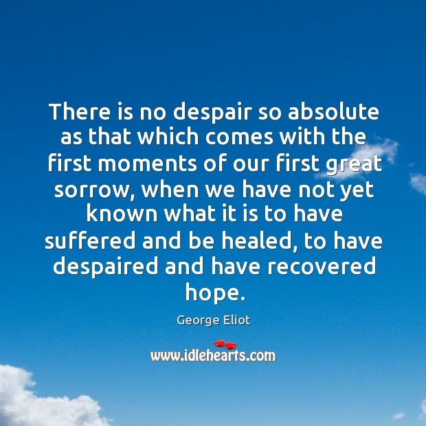 There is no despair so absolute as that which comes with the first moments of our first great sorrow Image