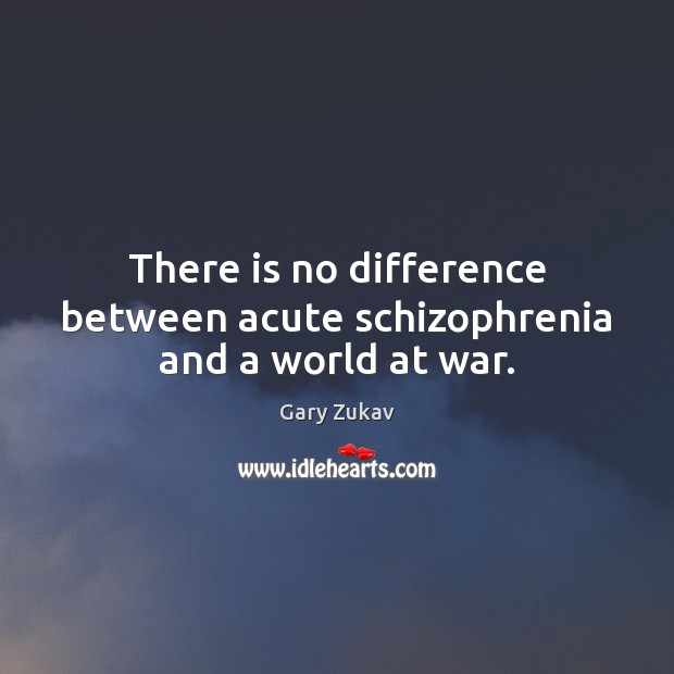 There is no difference between acute schizophrenia and a world at war. Gary Zukav Picture Quote