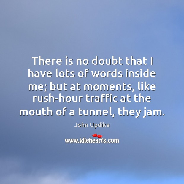 There is no doubt that I have lots of words inside me; John Updike Picture Quote