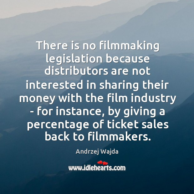 There is no filmmaking legislation because distributors are not interested in sharing Andrzej Wajda Picture Quote