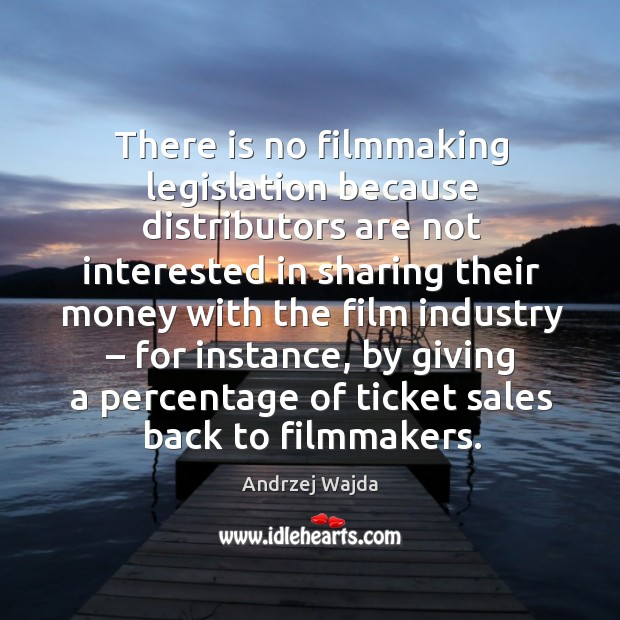 There is no filmmaking legislation because distributors are not interested in sharing their Andrzej Wajda Picture Quote