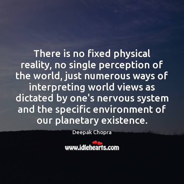 There is no fixed physical reality, no single perception of the world, Image
