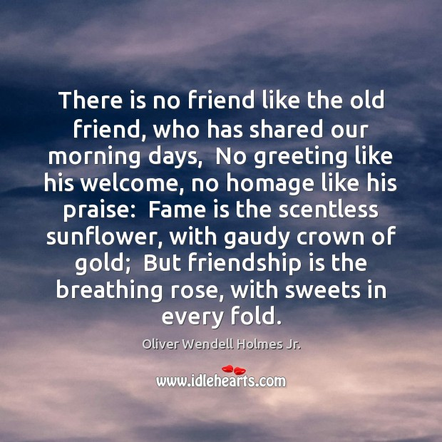 There is no friend like the old friend, who has shared our Oliver Wendell Holmes Jr. Picture Quote