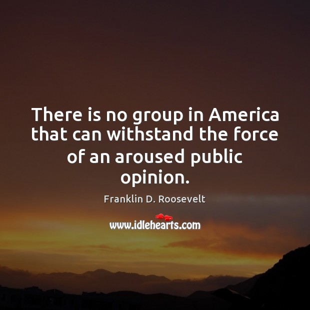 There is no group in America that can withstand the force of an aroused public opinion. Franklin D. Roosevelt Picture Quote