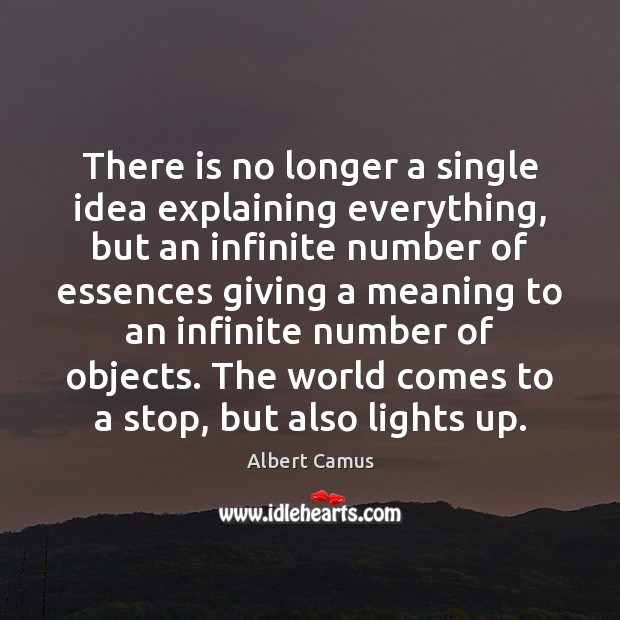 There is no longer a single idea explaining everything, but an infinite Image