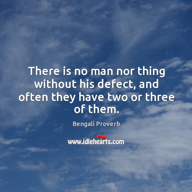 There is no man nor thing without his defect, and often they have two or three of them. Bengali Proverbs Image