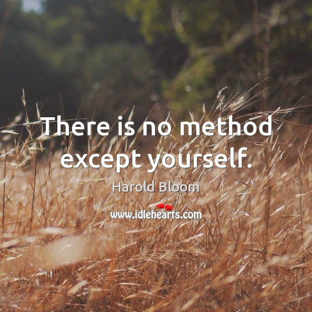 There is no method except yourself. Harold Bloom Picture Quote