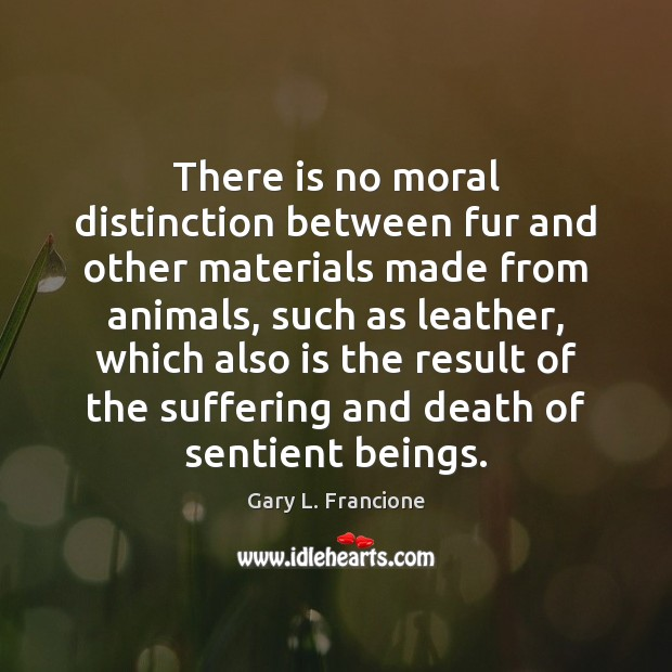 Image, There is no moral distinction between fur and other materials made from