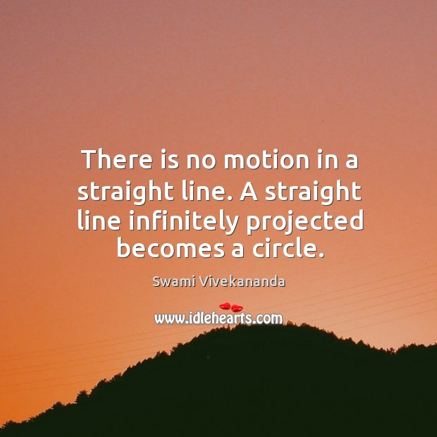 There is no motion in a straight line. A straight line infinitely Image