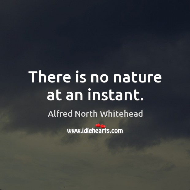 There is no nature at an instant. Image