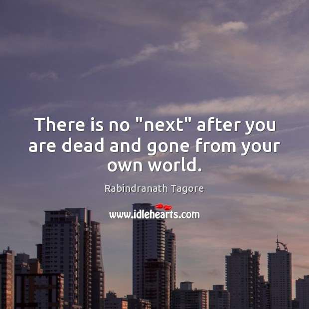 """Image, There is no """"next"""" after you are dead and gone from your own world."""