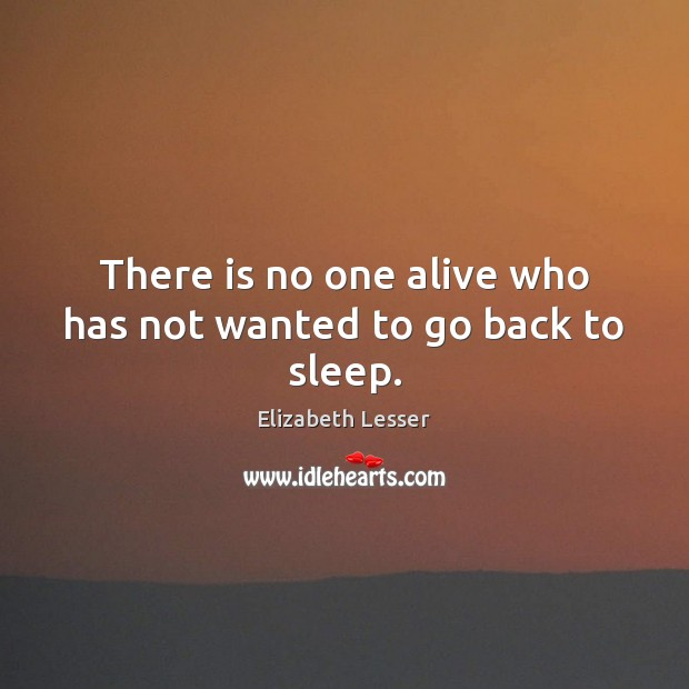 There is no one alive who has not wanted to go back to sleep. Elizabeth Lesser Picture Quote