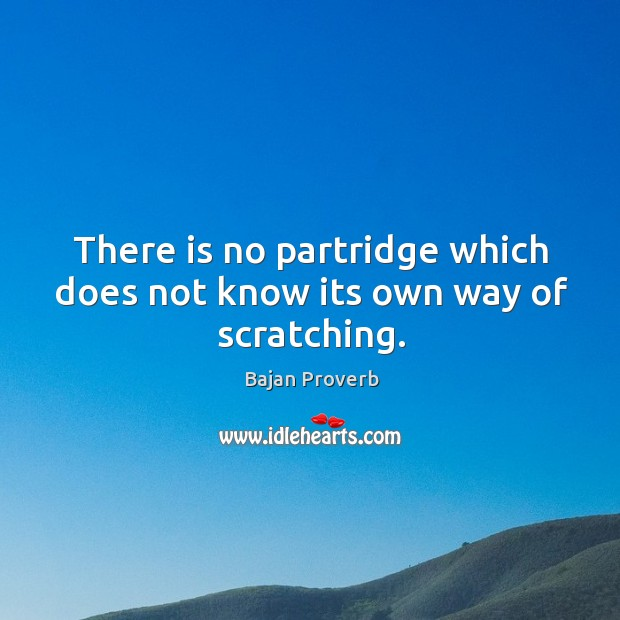 There is no partridge which does not know its own way of scratching. Bajan Proverbs Image