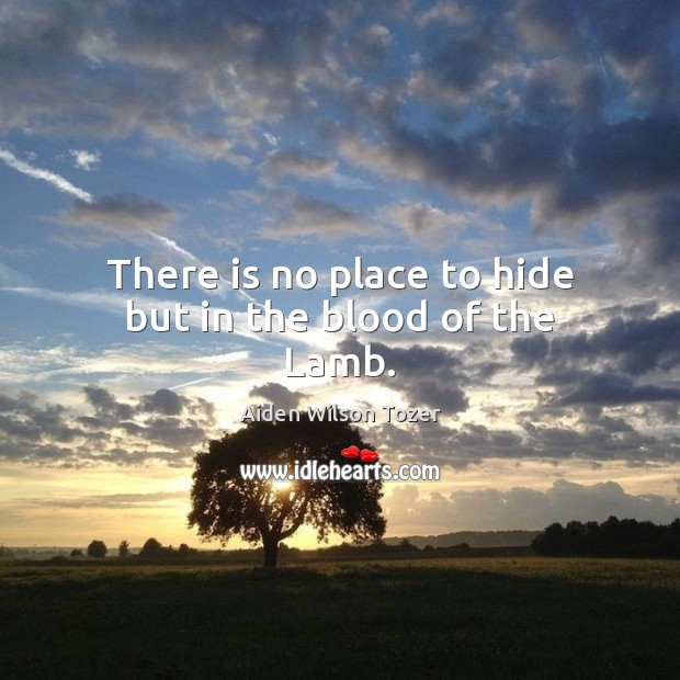 There is no place to hide but in the blood of the Lamb. Aiden Wilson Tozer Picture Quote