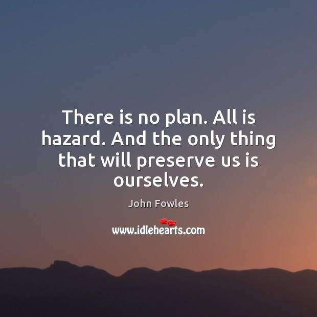 There is no plan. All is hazard. And the only thing that will preserve us is ourselves. John Fowles Picture Quote
