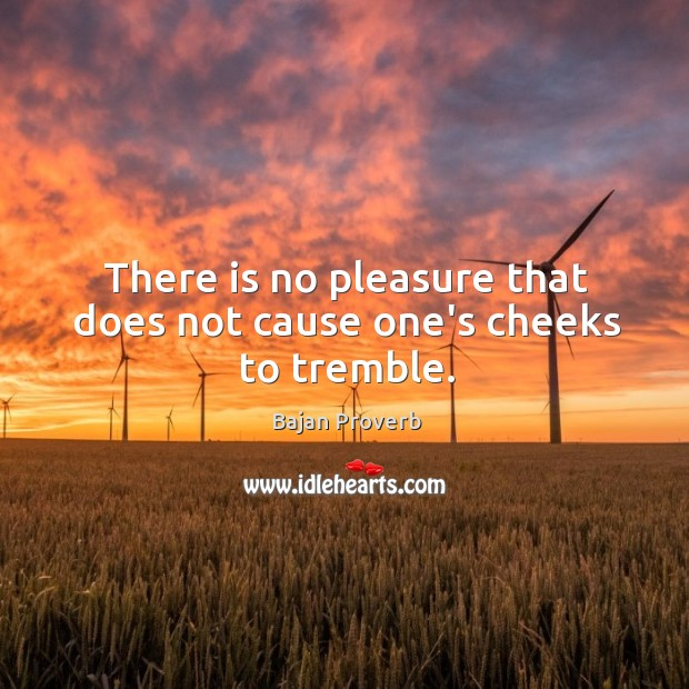 There is no pleasure that does not cause one's cheeks to tremble. Bajan Proverbs Image