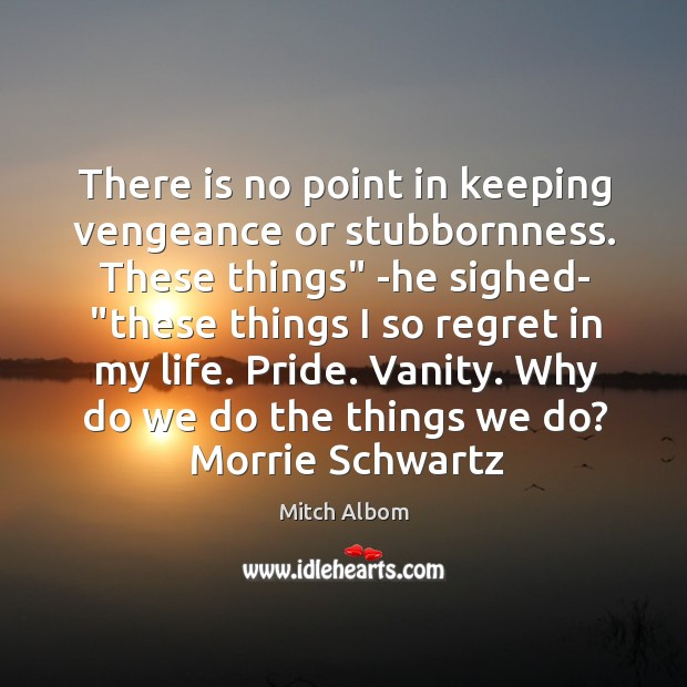 """There is no point in keeping vengeance or stubbornness. These things"""" -he Mitch Albom Picture Quote"""