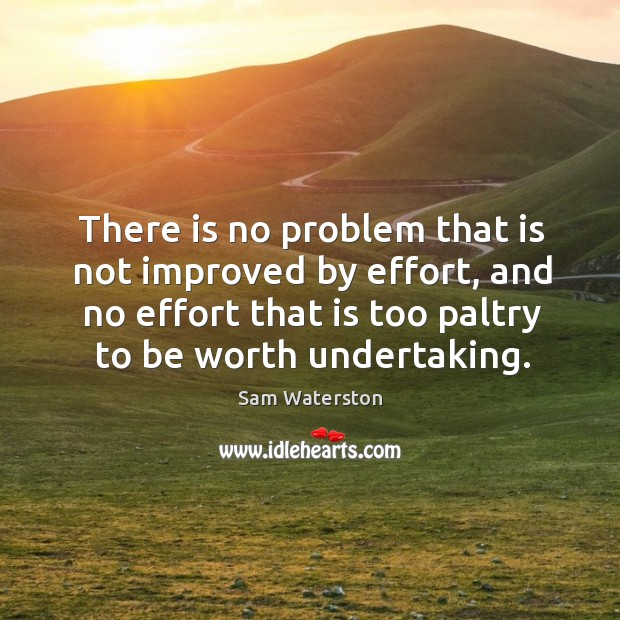 There is no problem that is not improved by effort, and no effort that is too paltry to be worth undertaking. Sam Waterston Picture Quote