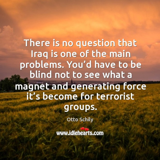 There is no question that iraq is one of the main problems. You'd have to be blind not to see what a magnet Otto Schily Picture Quote