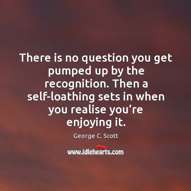 There is no question you get pumped up by the recognition. Then a self-loathing sets in when you realise you're enjoying it. Image