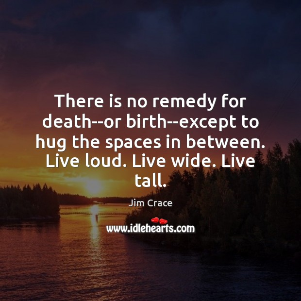 There is no remedy for death–or birth–except to hug the spaces in Hug Quotes Image