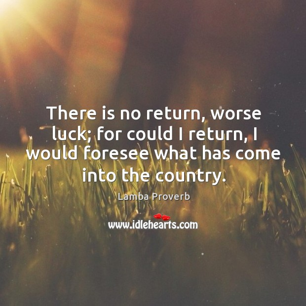 There is no return, worse luck; for could I return, I would foresee what has come into the country. Lamba Proverbs Image