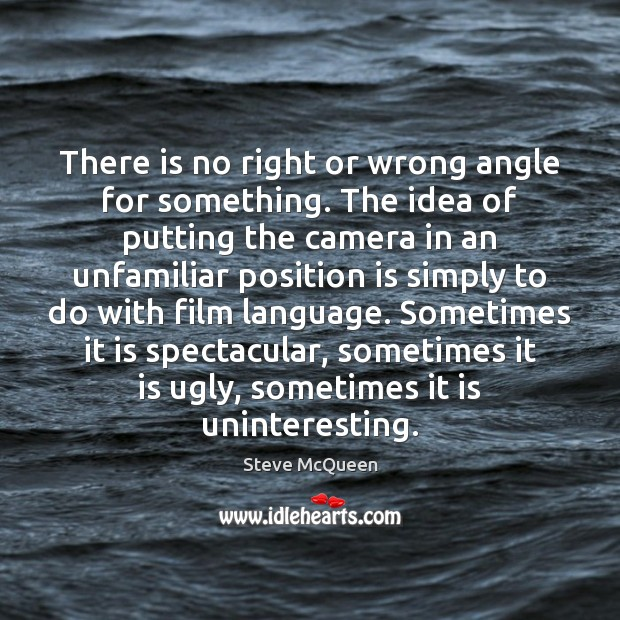 There is no right or wrong angle for something. The idea of Image