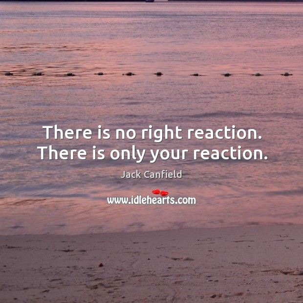 Image, There is no right reaction. There is only your reaction.