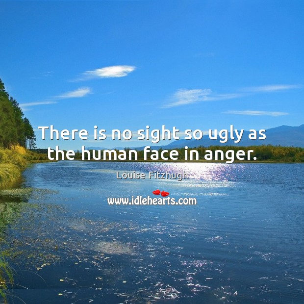 There is no sight so ugly as the human face in anger. Image