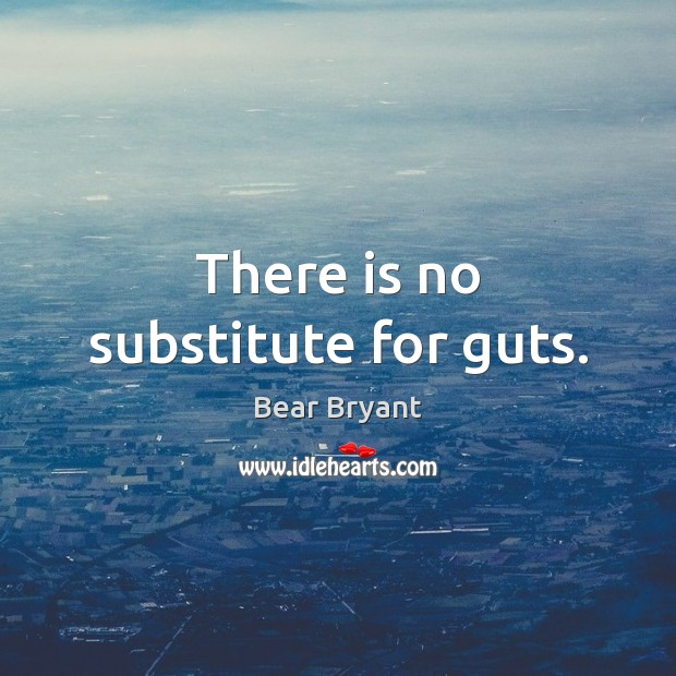 There is no substitute for guts. Bear Bryant Picture Quote