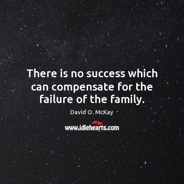 There is no success which can compensate for the failure of the family. David O. McKay Picture Quote
