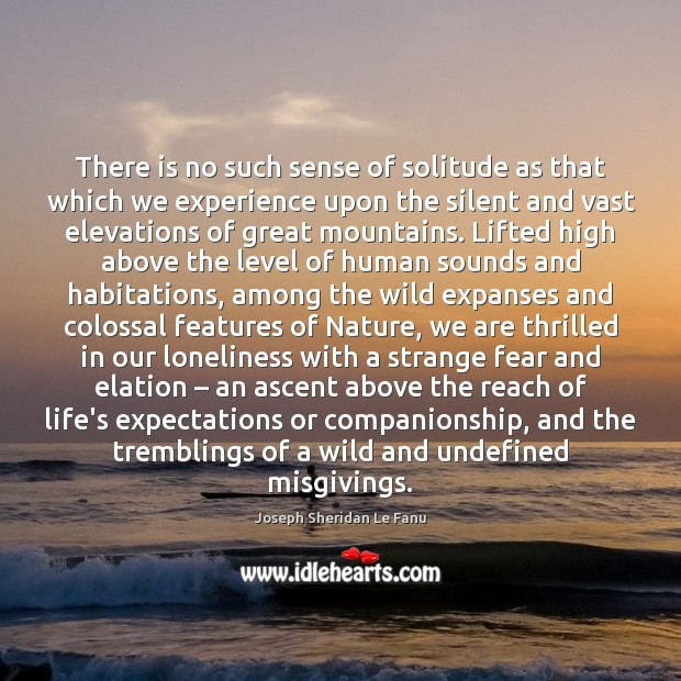 There is no such sense of solitude as that which we experience Image