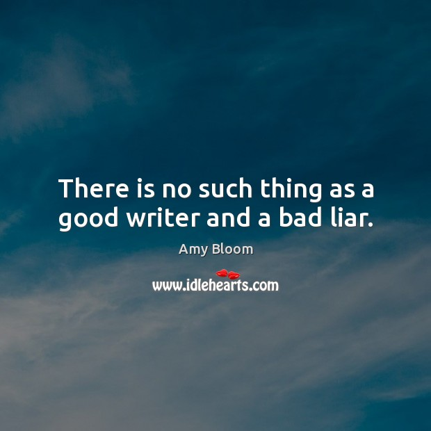 Image, There is no such thing as a good writer and a bad liar.
