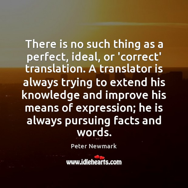 There is no such thing as a perfect, ideal, or 'correct' translation. Image