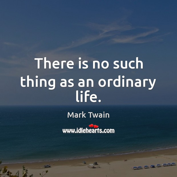 Image, There is no such thing as an ordinary life.
