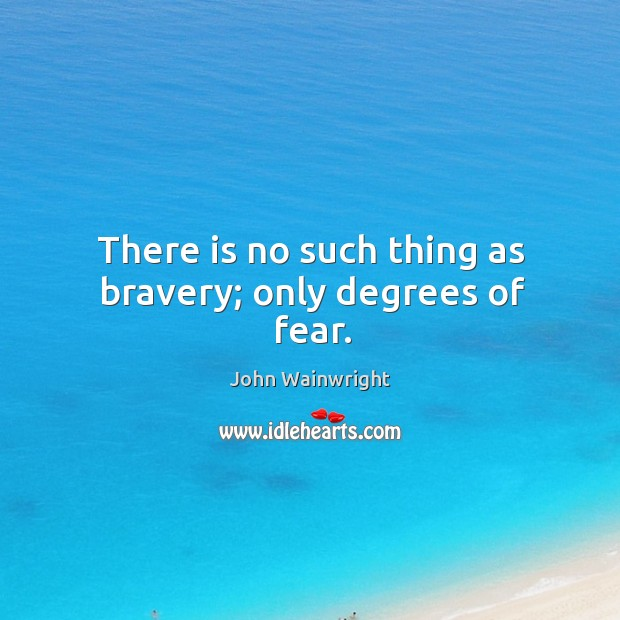 There is no such thing as bravery; only degrees of fear. Image